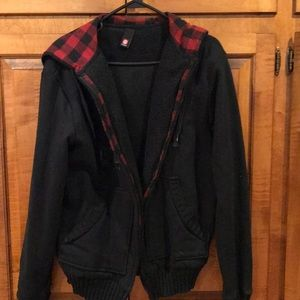 Element fleece jacket  with plaid flannel trim  L